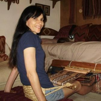 weaving the Guarani design piece