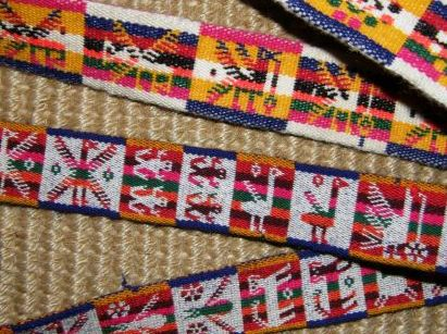Belts made in one-weft double weave technique in Potosi