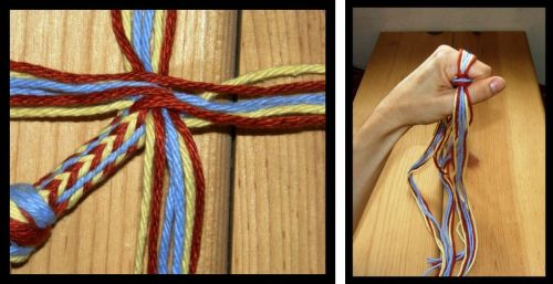 LEFT; The very start of the Palma braid with the 4 sets of 6 srands used to make it. RIGHT: My had in the braiding position. Two opposing stes of strands are interchanged. The braid is then rotated so the other two sets can be worked.