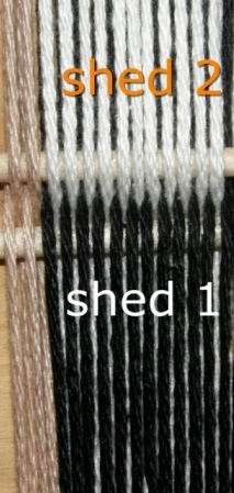You need to set up a warp that looks like this. There are four ends in each of the tan borders. You can count fouteen black warps and fourteen whites. As the warps are always floated in pairs, it is best to think of the set-up as being seven pairs of black warps and seven pairs of white. The warps in shed 2 will be controlled by a shed stick and those in shed 1 will go into heddles. The black warps in shed 1 will form the background for the white motif.