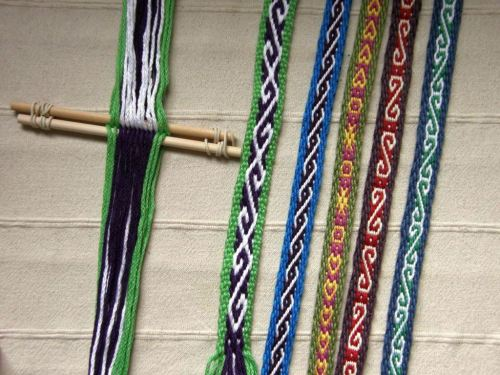 Warps created using 4 stakes and used for weaving Andean Pebble Weave bands