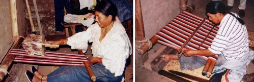 Weavers in Ecuador using circular warps brace their feet against piece of wood to help apply tension to the warp.