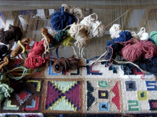 A floor loom holds the warp on which a weaver from Ayacucho, Peru will create a beautiful tapestry.