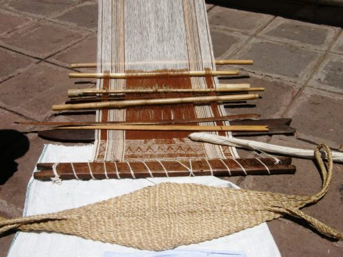The backstrap loom with its cotton warp from Chiclayo, Peru.