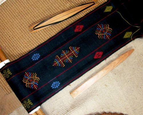 one more green motif bhutan scarf
