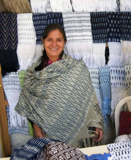 wearing the Tacabamba shawl