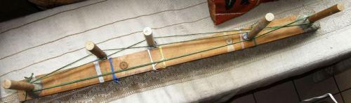 circular warp set up with coil rod stake