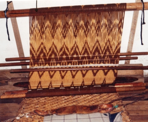 ikat weaving loom Bulcay Ecuador