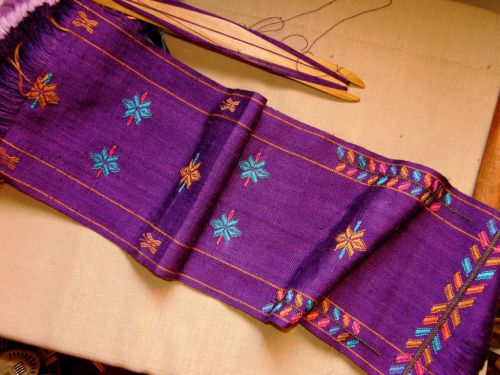 supplementary weft patterned scarf backstrap loom