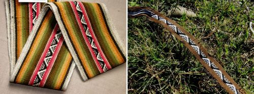 snake patterns Bolivan band backstrap weaving
