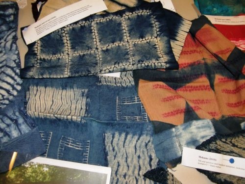 stitched shibori samples by rachelle weiss