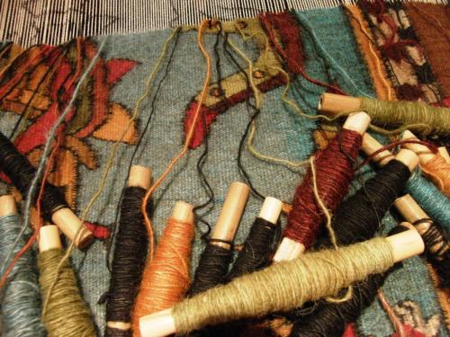 tapestry in progress by Zapotec weaver sergio martinez