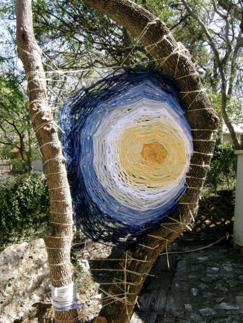 yarn tree sculpture at lydias