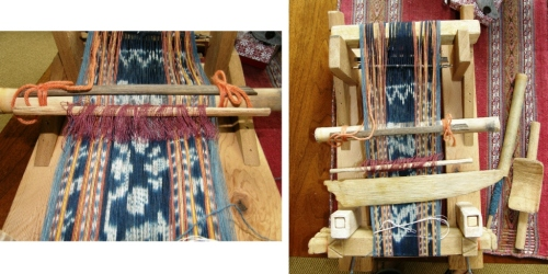 What a sweet little loom with its circular ikat warp in place. It was a great opportunity for me to take a close look at one of the Indonesain backstrap set-ups.