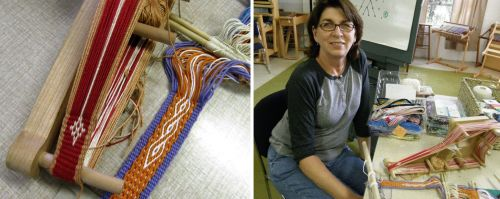 marge and her bands backstrap weaving class mannings