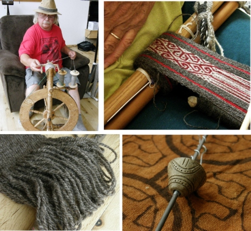 That's Ace at the wheel and below you can see the heavy grey yarn that he spun semi-worsted for his luxury backstrap...a lovely thick, cushy strap. You can see Janet working on a pebble weave band using her own handpsun and a pattern from my second book. And, on the right, there's the wee spindle whorl from coastal Ecuador that I gave Janet last spring. She has mounted it on a knitting needle and has been sponning with it.