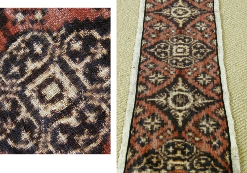"""Woven on a backstrap loom, this piece has both the warp and weft patterned ij the ikat technique. On top of that, the cotton thread was handspun. Judith tels me that this is known as """"Magic Cloth"""" and comes the Tenganan Bali Agai Community in Bali, Indonesia."""