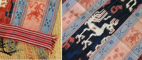 Another textile in Judith's collection, this one from Sumba, Indonesia...all the stuff I love!...weft twining along the bottom, simple warp floats to create creatures that are mirrored in the central ikat section.