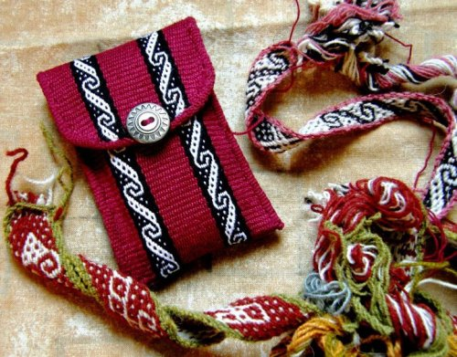 pebble weave cell phone pouch backstrap weaving