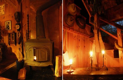 Candlelight in the wooden cottage