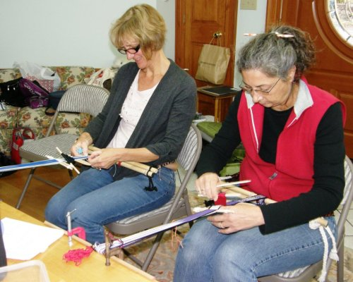 Claudia and Susan learn how to decorate a warp-faced band with both single and double faced patterning techniques.