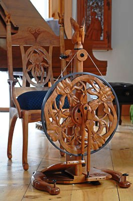 Barbaras Golding wheel and stool