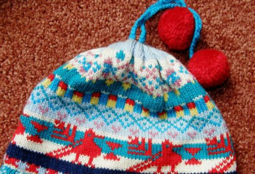 knitted hat with south american bird
