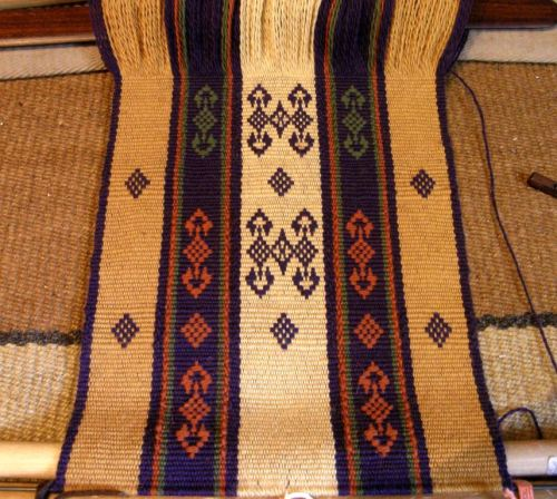 wool warp with pattern color changes backstrap weaving supplementary weft