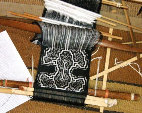 Shipibo inspired wall hanging backstrap weaving