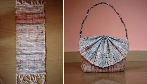 reused plastic bags for weaving in Bhutan