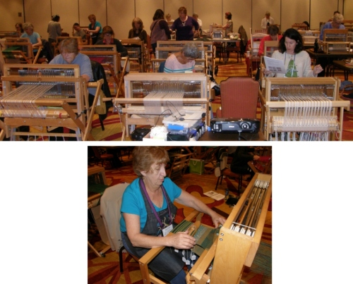 Robyn Spady's classroom wher she taught Exploring Weave Structures on a Single Warp was electric...a lot of looms, weavers and action! My friend Gina caught me pering in at the door and ttok y hand and brought me in to excitedly show me what she had been weaving.