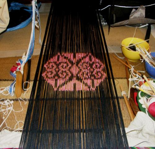 ikat motif on backstrap loom