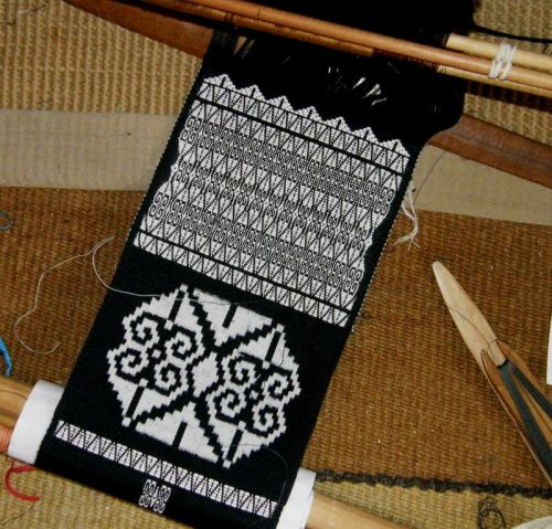 ikat and brocade on backstrap loom