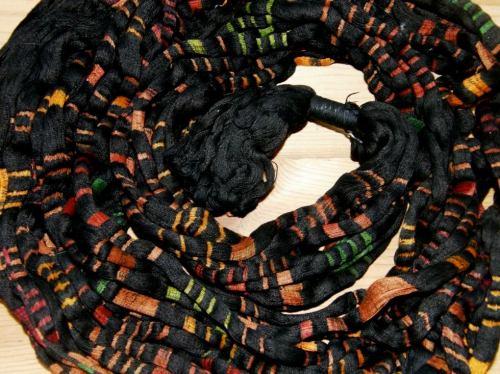 A Guatemalan jaspe warp ready for weaving