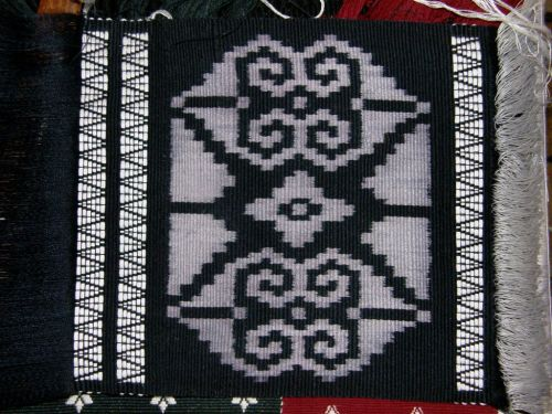 Large ikat motif backstrap loom