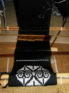 woven ikat motif backstrap weaving