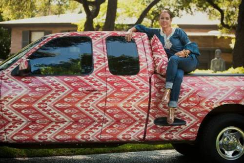 Michelle Nussbaumer's ikat pickup truck from the Dallas Morning  News