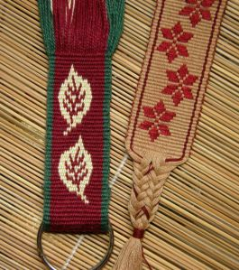 leaf pattern in double weave and 9 strand braid
