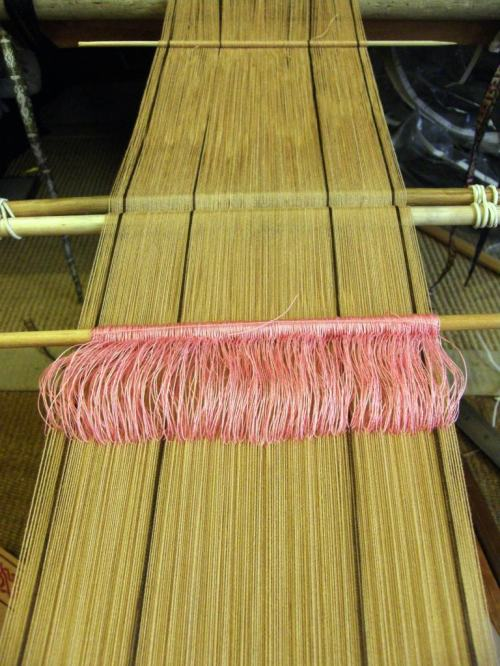 backstrap loom with two shed set up and coil rod