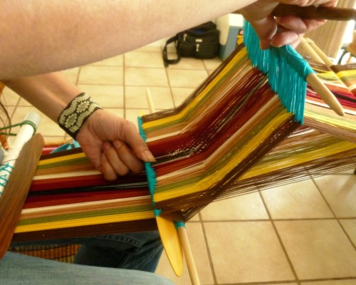 I gave Diane some tips on how to open the sheds on a wide two-heddle piece.