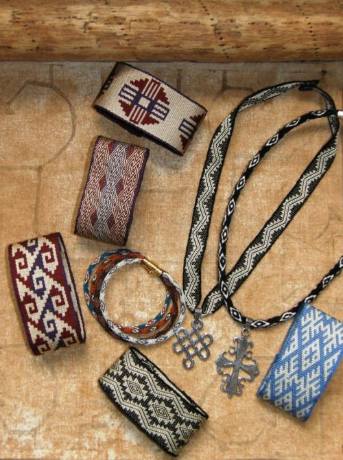 silk cuffs and necklaces backstrap weaving