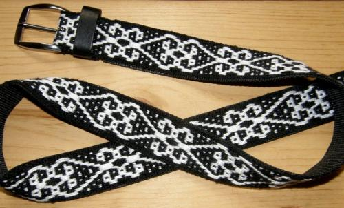 belt with central asian motif backstrap weaving