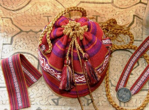 yurt pouch with cuff and necklace
