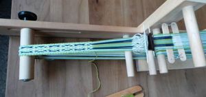 Annamieke's inkle loom with Andean Pebble Weave.