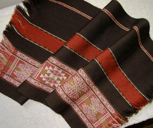 first of 2 wool panels backstrap weaving
