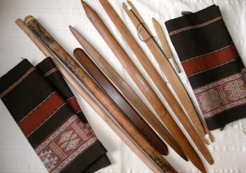 various tools backstrap weaving wool project