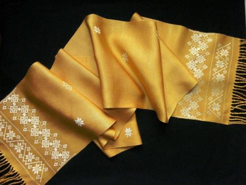 yellow silk scarf after wet finish