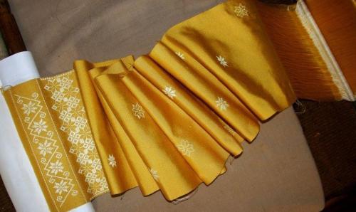 silk scarf on loom