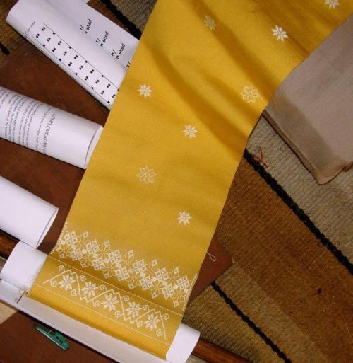 scattered flower motifs on silk scarf
