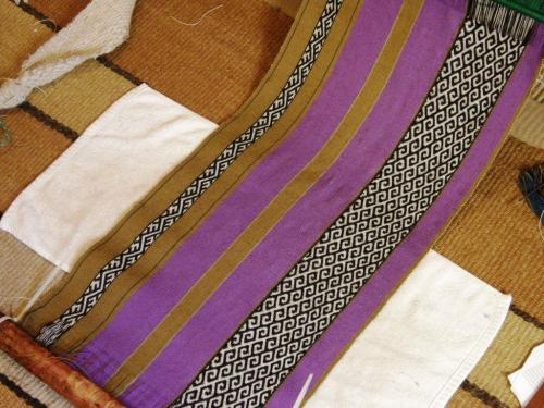finished purple panel on loom